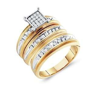 Set Engagement Wedding Bands Yellow Gold Men Lady .42ct, Size 6.5