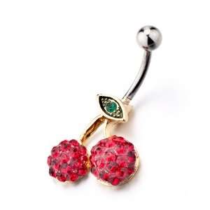 January Red Birthstone Body Jewelry Rhinestone Dangle Belly Navel Ring