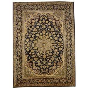 97 x 133 Navy Blue Persian Hand Knotted Wool Kashan Rug