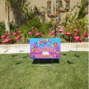 12 Pink Flamingo Twirlers and a Happy Birthday Sign Patio