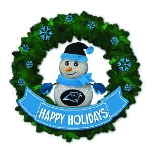 15 NFL Carolina Panthers Lighted Snowman Artificial Christmas Wreath