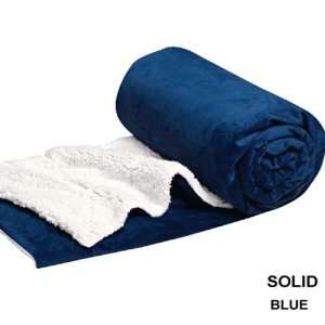 Twin Blanket Sumptuously Soft Plush Faux Fur Blue Borrego / Microfiber