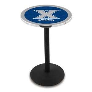 Xavier Counter Height Pub Table   Round Base   NCAA