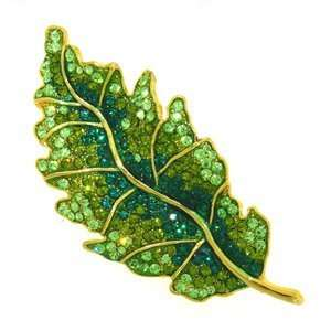 Platinum Plated Swarovski Crystal Enamel Green Leaf Pin/ Brooch (1/2