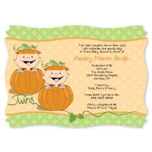 Twin Little Pumpkins Caucasian   Personalized Baby Shower Invitations
