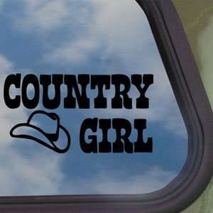 Country Girl US Cow Girl Black Decal Truck Window Sticker