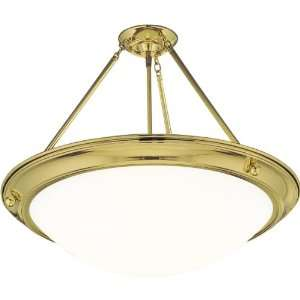 Progress Lighting Semi Flush Ceiling Fixture Polished Brass p3572 10eb