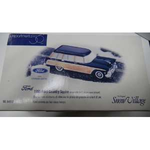 The Original Snow Village 1955 Ford Country Squire Set of 2 with sign