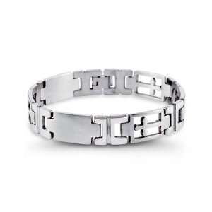 Modern Mens Stainless Steel Open Cross Link Bracelet Jewelry