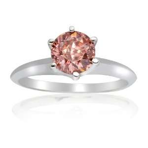1.00 CT Pink Round Solitaire Engagment Ring Jewelry