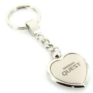 Nissan Quest Satin/Chrome Two Tone Heart Shape Keychain