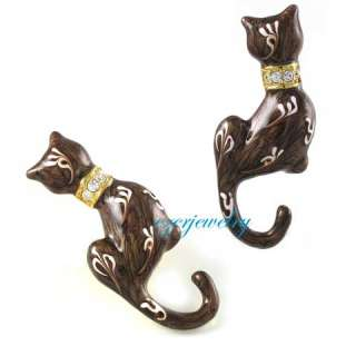 BROWN CAT EPOXY ENAMEL CLEAR RHINESTONE PIN BROOCH P17