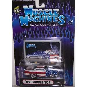 Muscle Machines 1/64 Scale Diecast 1962 Bubble TOP in Color Red/white