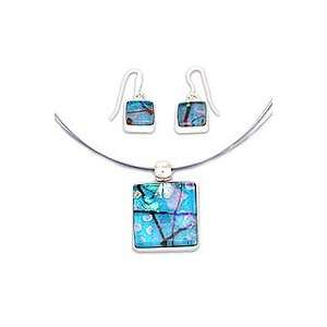 Dichroic art glass jewelry set, Caribbean Horizon Jewelry