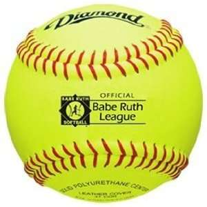 Yellow Synthetic Leather Softball with Red Stitch