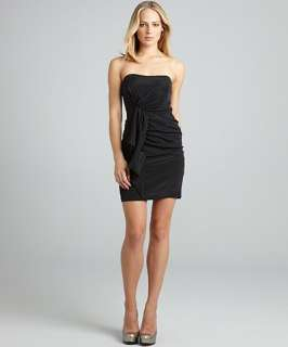 Nicole Miller black stretch silk draped strapless dress