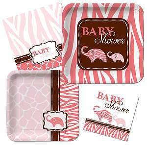 Plates Napkins Girl Pink Animal Print Baby Shower Plate Napkins